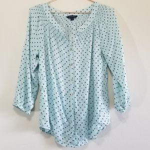 Lands end polka dot blouse with gold buttons